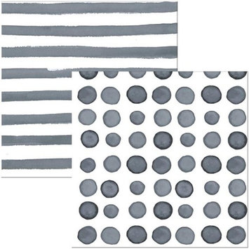 Hoffmaster Group 668509 Elise Platinum Dots & Stripes 3 Ply Luncheon Napkins - 16 per Case - Case of 12