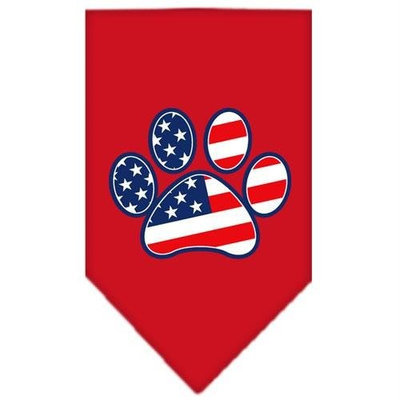 Mirage Pet Products 6657 LGRD Patriotic Paw Screen Print Bandana Red Large