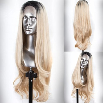 Persephone Fashion Blonde Lace Front Wigs Ombre with Dark Roots Glueless Natural Wavy Synthetic Wig Long Honey Blonde Wigs for Women 24 Inches