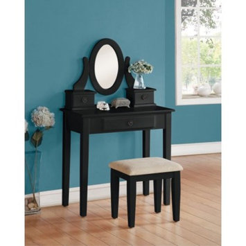 Simple Relax 1PerfectChoice Jayle Vanity Makeup Table Oval Mirror Fabric Seat Stool Bench 3 Drawers In Black
