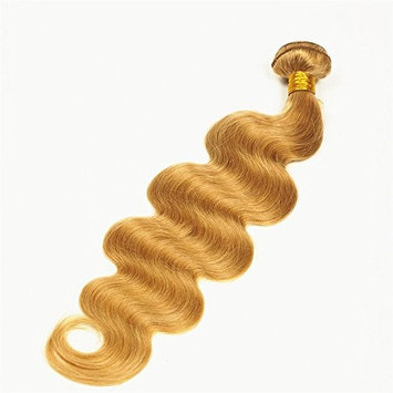 Stella Reina Color #27 Pastel Honey Blonde Hair Bundle 100g Brazilian Body Wave Sew In Virgin Hair Weaves 100% Real Human Hair Extensions with Thick Full Ends 18 Inch Medium Length For Women []