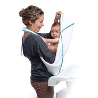aacua 4 in 1 Multi-Use Bath Towel (White) - Teal Trim