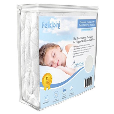 Liliane Collection Quilted Twin Mattress Protector for Cribs 100% Waterproof 75X39 in