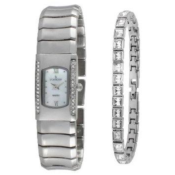 Peugeot Women's Designer Crystal Watch with Matching Crystal Tennis Bracelet Gift Set - silver