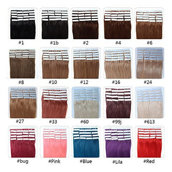 Fabwigs Tape In Human Hair Extensions - 16 18 20 22 24 Inch 20pcs 30g-70g Set - Silky Straight Skin Weft Human Remy Hair (20 Inch #8 Ash Brown)