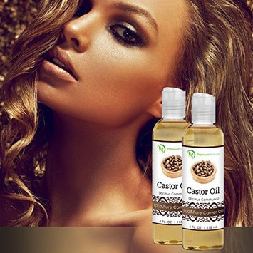 Castor Oil, Natural Carrier Oil 4 oz, Stimulates Hair Growth, Conditions Hair, Heals Inflamed Skin, Nourishes & Moisturizes Skin, Fades Blemishes - By Premium Nature