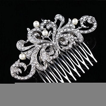 Wedding Silver Tiara with Comb, Bridal Pageant Birthday Crystal Crown Headband Princess Headpiece - by NIPOO
