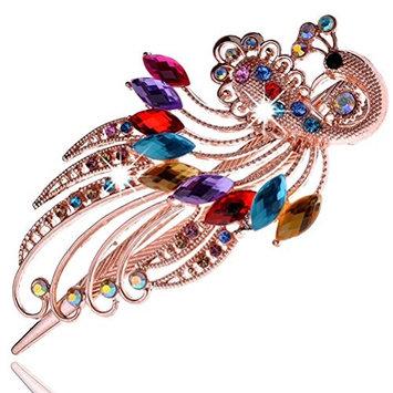 cuhair 1pc Pretty Crystal Rhinestone Peacock Hair Comb Clip Barrette Pin Accessories For Women Lady Girl