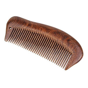 Wood Hair Comb - Fine Teeth with Carved Pattern Handmade Brush for Beard, Head Hair, Mustache With Gift Box (Anti-Static and No Snag)