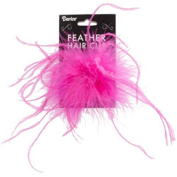Ostrich Feather Hair Clip 1/Pkg-Hot Pink
