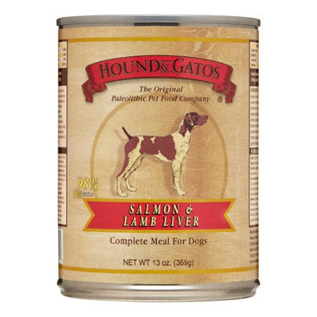 Hound & Gatos Salmon & Lamb Liver Wet Dog Food, 13 Oz (Pack of 12)