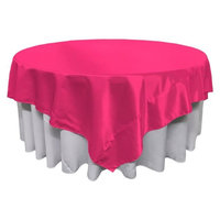 LA Linen TCbridal90x90-FuchsiaB49 Bridal Satin Square Tablecloth Fuchsia - 90 x 90 in.