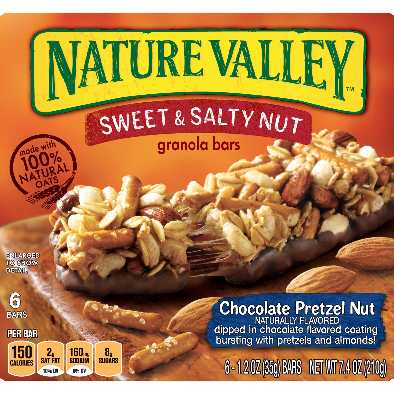 Nature Valley Granola Bars, Sweet & Salty Nut, Chocolate Pretzel, 6 Bars, 1.2 oz