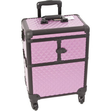 Professional Rolling Cosmetic Makeup Train Case Pattern: Diamond, Color: Purple/Black