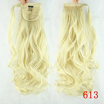 Ladies 24 inch Natural Color Pony Tail Long Curly Wavy Clip in Hair Extension Wrap Around Ponytail Fibre Hairpiece