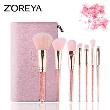 Z'OREYA 7Pcs Professional Makeup Brushes Shinny Pink Crystal Glitter Handle Design Synthetic/Vegan Make-up Brush Set With Pouch