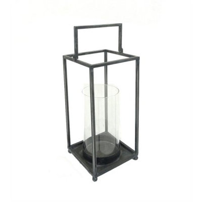 Benzara Marvelous Rectangular Glass And Metal Lantern, Black And Clear
