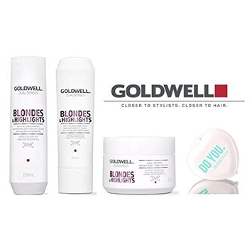 Goldwell Dualsenses Blondes And Highlights Anti-Yellow Shampoo, Conditioner, & 60sec Treatment TRIO Set (with Sleek Compact Mirror)