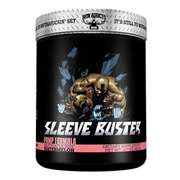 Sleeve Buster | Iron Addicts | Pre-Workout Pump Formula | Formulated By CT Fletcher (30 Servings, Blue MuthaFuckin' Raspberry)