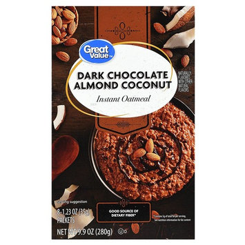 Great Value Instant Oatmeal, Dark Chocolate Almond Coconut, 8 Count