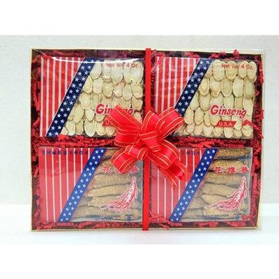 Ginseng Gift Box Set - 2 Boxes American A Grade Ginseng Slice (4oz), 2 Boxes American A Grade Medium Long (4oz)