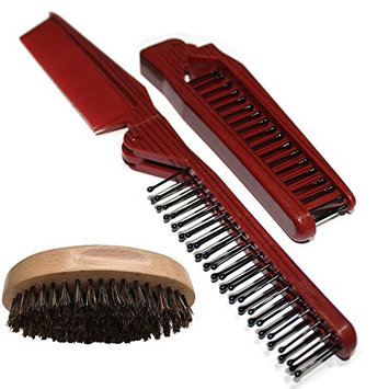 Beard Brush and Comb Set for Men - With Wild Boar Bristles for Easy Grooming – Facial Care Hair Comb for Beards & Mustache Conditioning, Styling & Maintenance - Great for Dry or Wet Beards