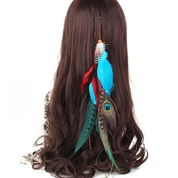 Suoirblss 1 Pc Handmade Boho Hippie Hair Extensions with Feather Clip Comb Hairpin Headdress DIY Accessories for Women Lady