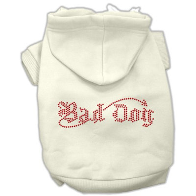 Mirage Pet Products 5407 XSCR Bad Dog Rhinestone Hoodies Cream XS 8
