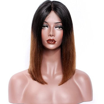KUN Hair Human Hair Lace Front Wigs for Women Straight Ombre Wig Brazilian Remy Hair Human Hair Bob Wig Two Tone Color #1B/30 14 Inches