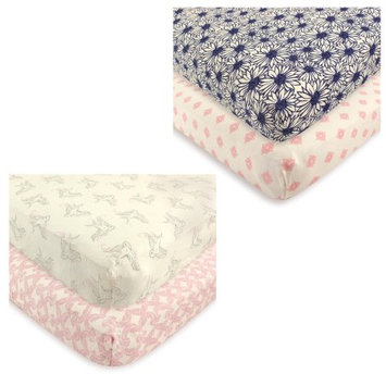 Babyvision Inc. Touched by Nature Baby Boys' and Girls' Organic Fitted Crib Sheet, 4-Pack, Choose Your Color