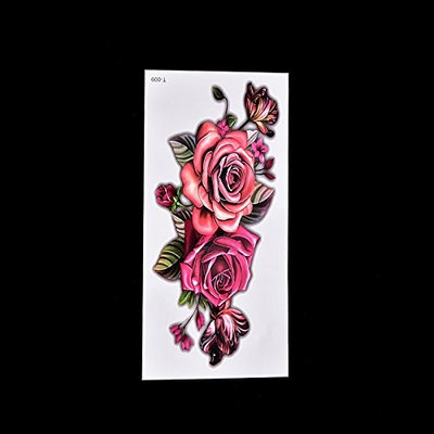 Ujuuu 1 Pcs Rose Fake Temporary Tattoo Sticker, Temporary Body Art Tattoo for Women Men, Waterproof Design