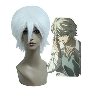 Mcoser 30CM Short Anime Gin Tama/DEATH NOTE-Sakata Gintoki/Near Cosplay Wig (White)