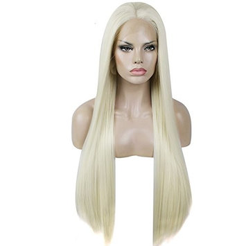 ANOGOL Hair Cap+24'' Blonde Synthetic Lace Front Wig Handmade Straight Heat Resistant Brazilian Hair for White Women Long Natural Wigs for Fancy Dress Straight