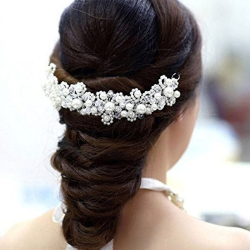 Urberry Pearl Crystal Bride Headdress By Hand Wedding Dress Accessories Bridal
