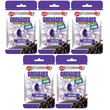 Grenades Explosively Strong Mint Sugar-Free Gum - Intense, Long Lasting Flavor and Breath Freshening - Pack of 5 (Grape Bomb) (150 Pieces)