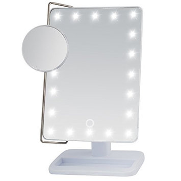 Miss Sweet Lighted Trifold Makeup Mirror Tabletop Mirror Vanity mirror for Beauty Makeup (A Rose G