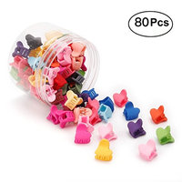 Sufermoe 80 pcs Baby Girl Kids Mini Hair Claw Clips Heart-shaped Hair Bangs Pin Kids Hair Accessories Clips