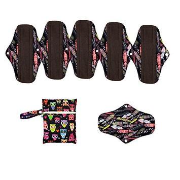 6PC 10 Inch Regular Reusable Washable Charcoal Bamboo Cloth Mama Menstrual Sanitary Pad+1 Wet Bag