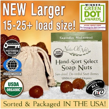 NaturOli Soap Nuts/Soap Berries. 23+ LOADS! - USDA Organic laundry soap, natural detergent & cleaner. Select seedless. Heavy-duty wash bag + 8-pg info & instr.