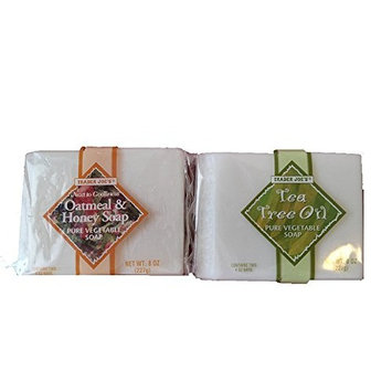 Trader Joe's Next to Godliness Pure Vegetable Bar Soap Cruelty Free Value Bundle - 1 Oatmeal & Honey Scent & 1 Tea Tree Oil Scent (8 Oz. Each)