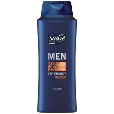 Suave Men Anti Dandruff Pure Power 2 in 1 Shampoo and Conditioner, 28 oz