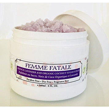 FEMME FATALE French Lavender and Organic Coconut Oil Body Sugar Scrub. ALL NATURAL. Get rid of crepy skin, smooth body, reduce bumps and Keratosis Pilaris. Reduce dryness and enhance glow.