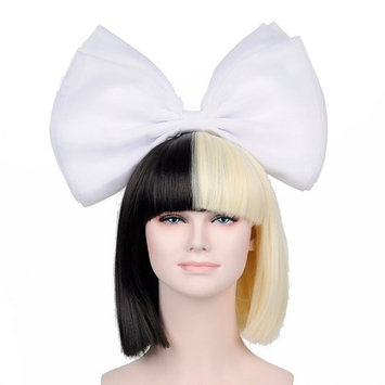OUO HAIR Wig Fashion Star Short Bob Straight Hair Fashion Wig Straight Bang Synthetic Wig +Big White Bow (Black Mixed Golden)