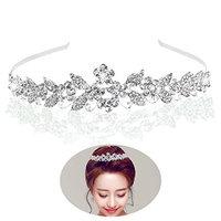 Tinksky Tiara Bridal Headpieces Rhinestone Princess Tiara Baroque Headbands(Silver)