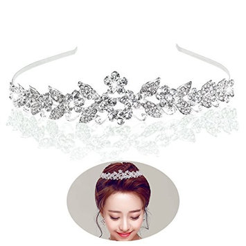 Tinksky Tiara Bridal Headpieces Rhinestone Princess Tiara Baroque Headbands(Silver)