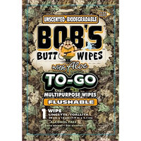 Bob's to-Go Wipes, Individually Wrapped Butt Wipes for Travel, Unscented Biodegradable Flushable Multipurpose Wipes, 24 Pack