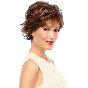 Jazz Wig Petite Cap Color 12FS8 Shaded Prailine - Jon Renau Wigs Women's Synthetic Short Layered Sides Flipped Out Nape Open Weft