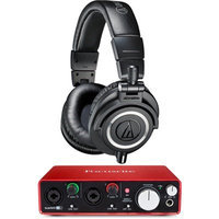 Audio-Technica ATH-M50X Professional Studio Headphones (Black) w/ USB Audio Interface Bundle