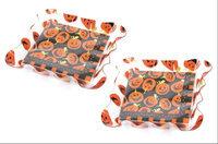 Dennis East Halloween Orange Black 7 Inch Paper Napkins Ruffled Napkin Holders Set of 2