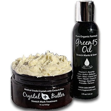Microdermabrasion Complete KIT for STRETCH MARKS- Crystal Butter & Green15 Oil Raw Cocoa Butter +organic 15 natural oils blend